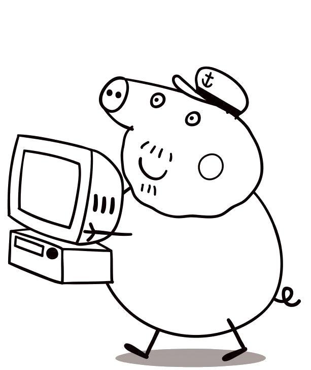 Раскраска  Папа Пеппы. Скачать Свинка Пеппа.  Распечатать Свинка Пеппа