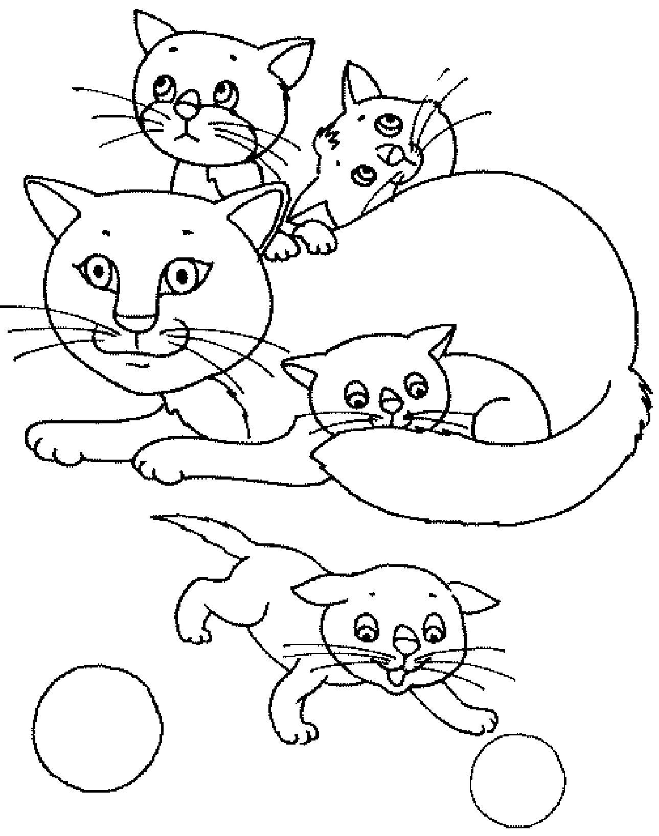 Раскраска  кошка мама. Скачать кошка, Котенок.  Распечатать Домашние животные