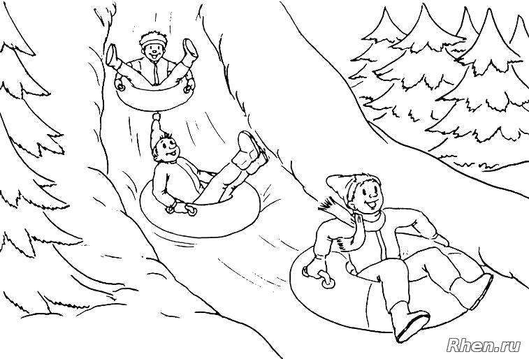 Раскраска Ребята катаются с горки.. Скачать новогодние.  Распечатать новогодние