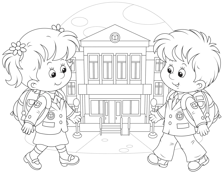 Раскраска Счастливые мальчик и девочка идут в школу. Скачать 1 сентября.  Распечатать 1 сентября