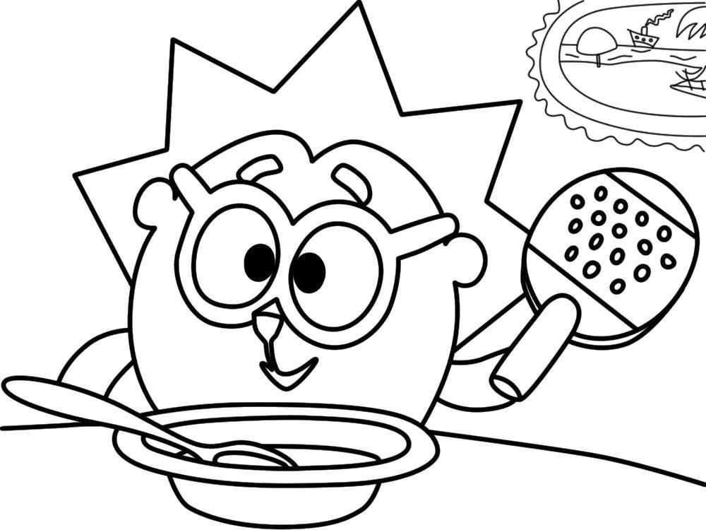 Раскраска Качайте и печатайте бесплатные  Ежик из Смешариков. Скачать Ежик.  Распечатать Ежик
