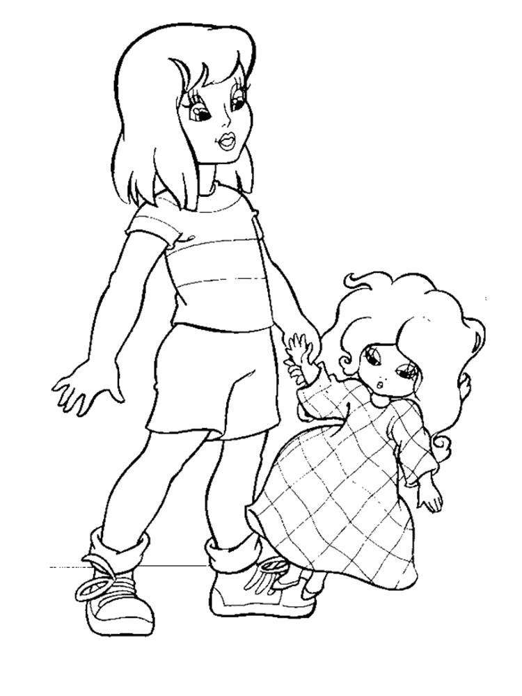 Раскраска  кукла. Скачать кукла.  Распечатать кукла