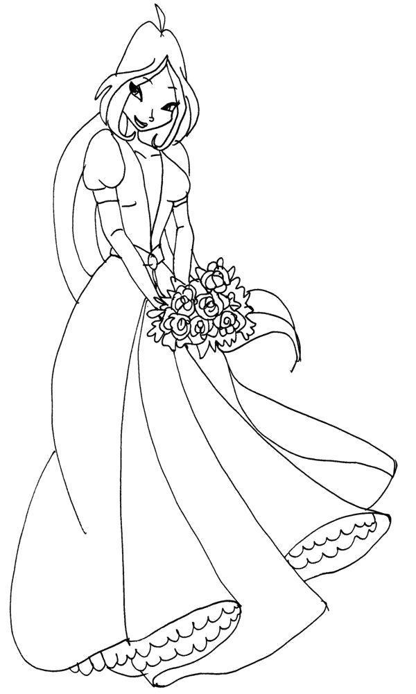 Раскраска Флора в платье. Скачать Винкс.  Распечатать Винкс