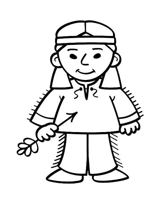 Раскраска Индейская девочка. Скачать .  Распечатать