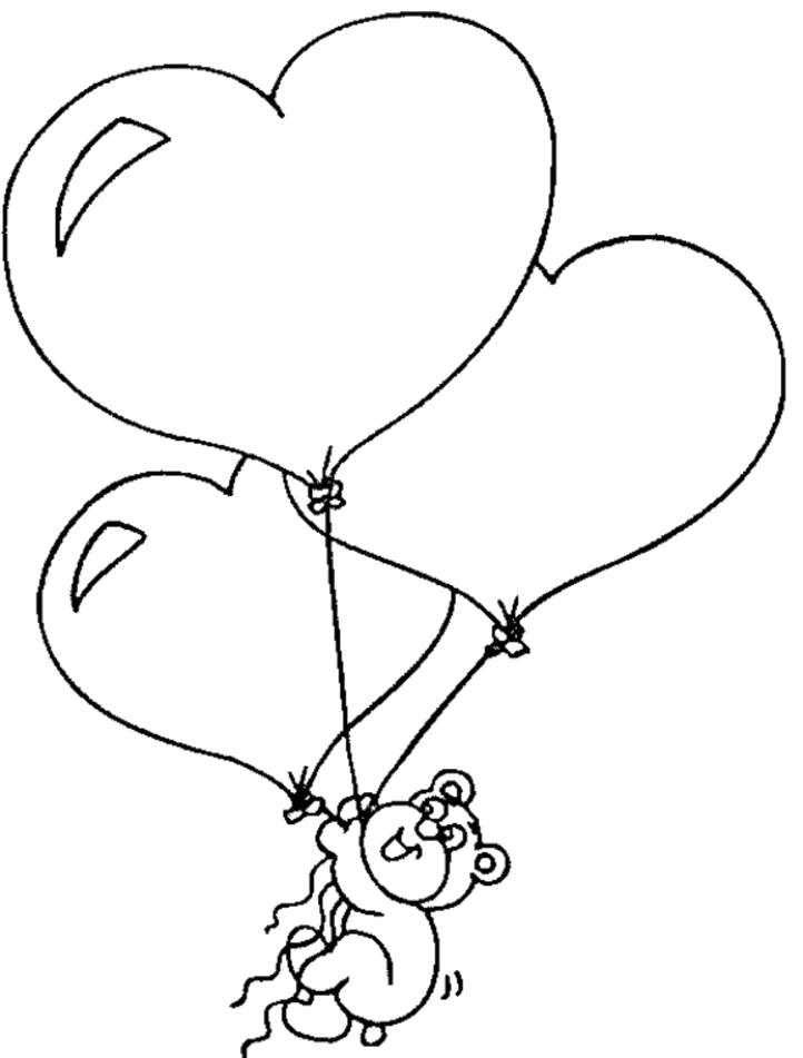 Раскраска  сердечки Мишка, сердечки, воздушные шарики. Скачать сердечки.  Распечатать сердечки