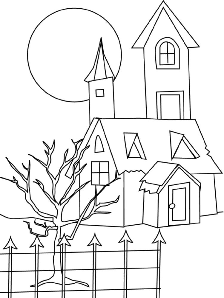 Раскраска дом , красивый домик, высокий дом, дом за забором. Скачать Дом.  Распечатать Дом