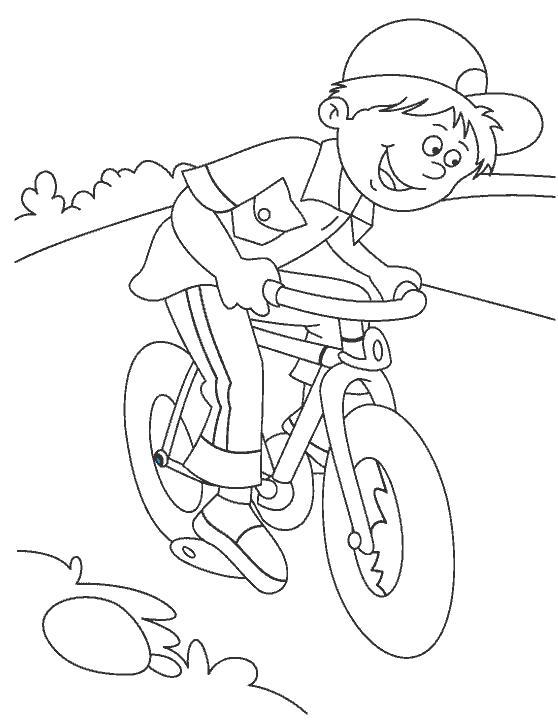 Раскраска мальчик едет на велосипеде. Скачать Велосипед.  Распечатать Велосипед
