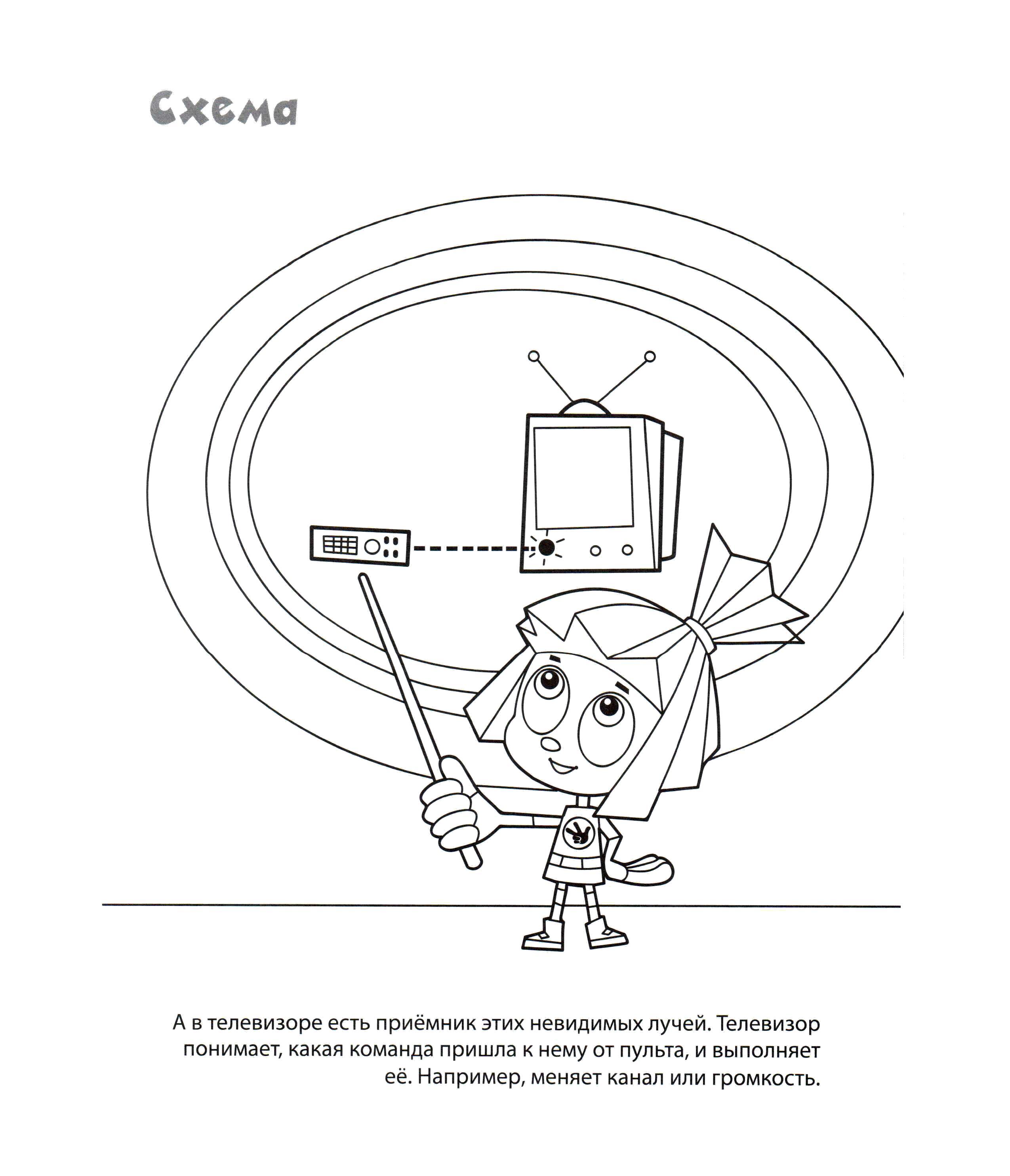 Раскраска Симка показывает схему как работает пульт.. Скачать Симка.  Распечатать Фиксики