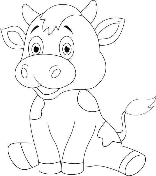 Раскраска Маленький теленок . Скачать Корова.  Распечатать Домашние животные