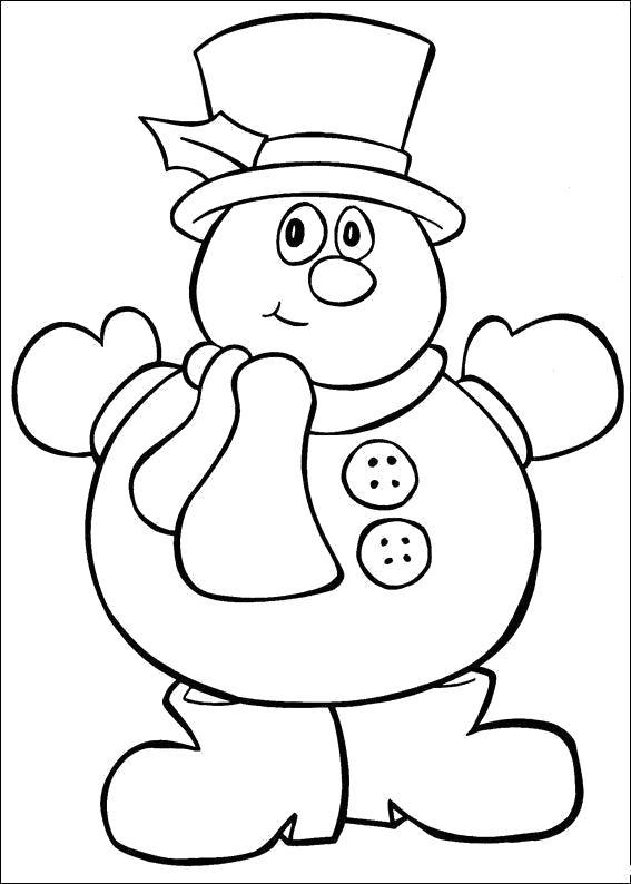 Раскраска Снеговичок. Скачать Рождество.  Распечатать Рождество