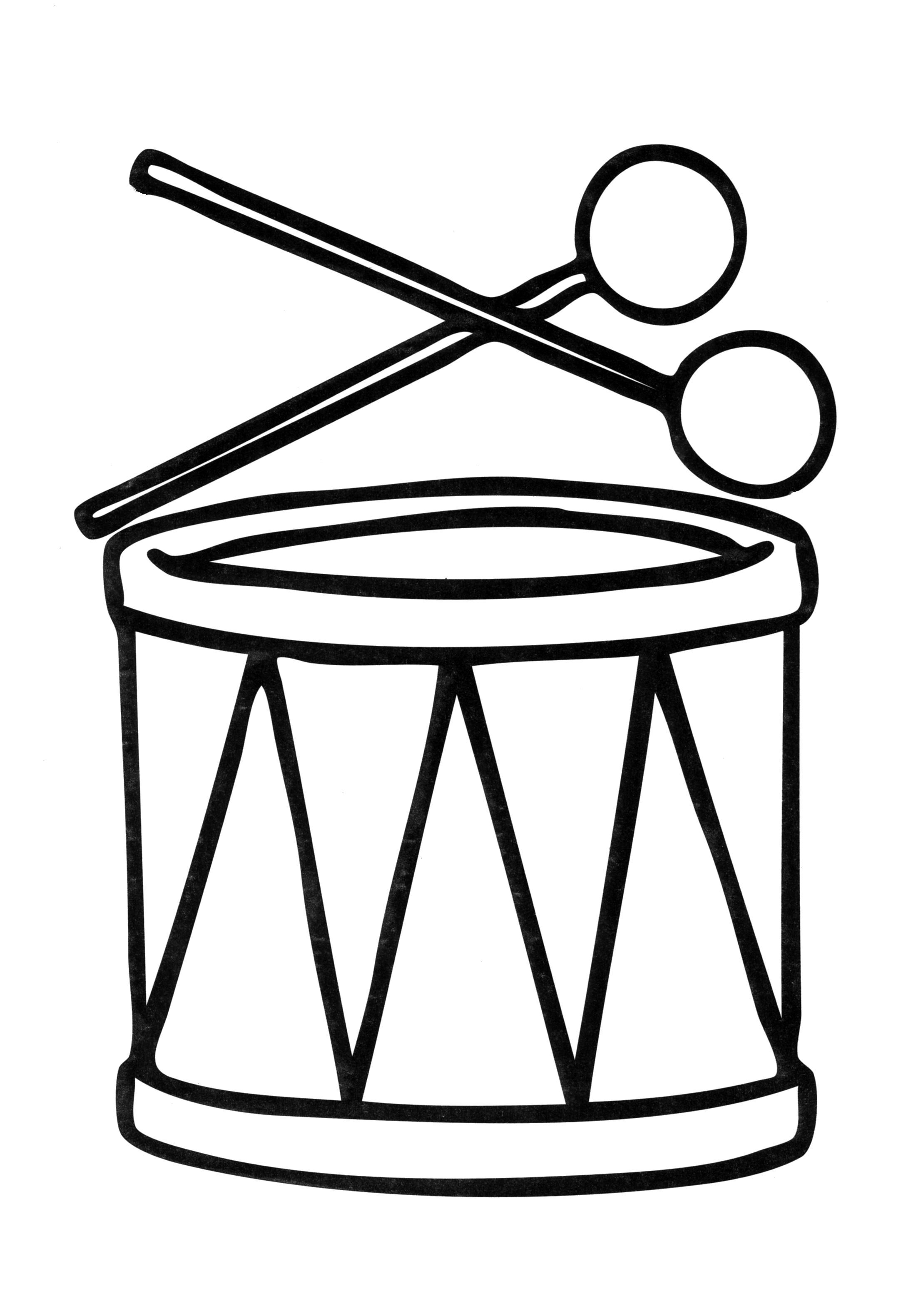 Раскраска  для малышей. Скачать Барабан.  Распечатать Барабан