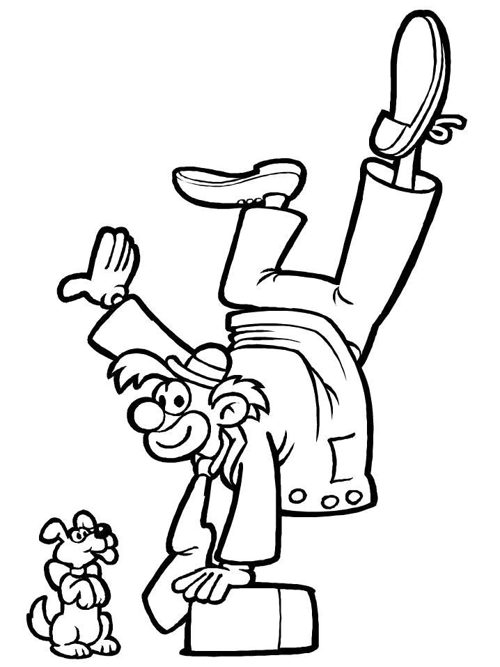 Раскраска Клоун акробат. Скачать клоун.  Распечатать клоун