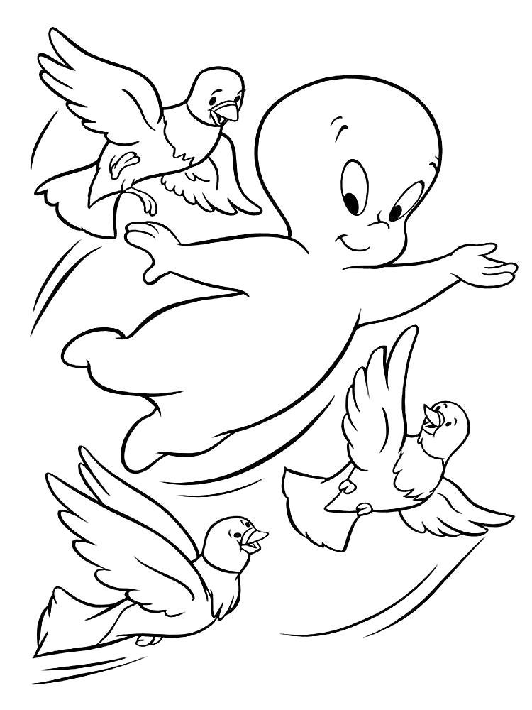 Раскраска Каспер с птичками. Скачать каспер.  Распечатать каспер