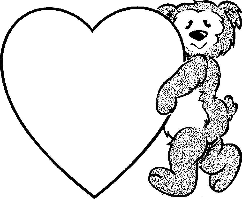 Раскраска Мишка с большим сердцем, подарки, праздник. Скачать .  Распечатать