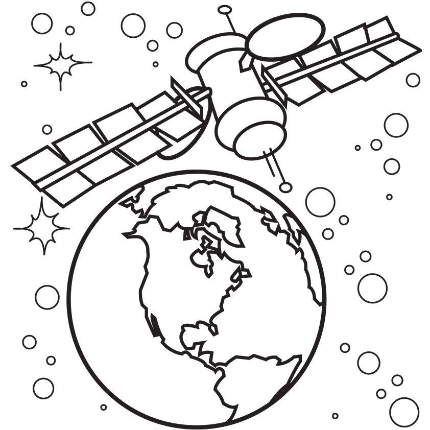 Раскраска спутник. Скачать Спутник.  Распечатать Спутник