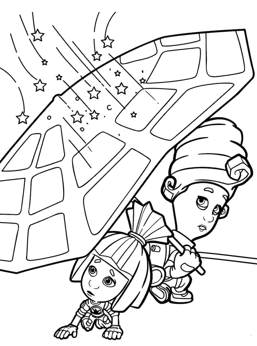 Раскраска Мася и Симка прячутся под зонтом. Скачать Симка, Мася.  Распечатать Фиксики