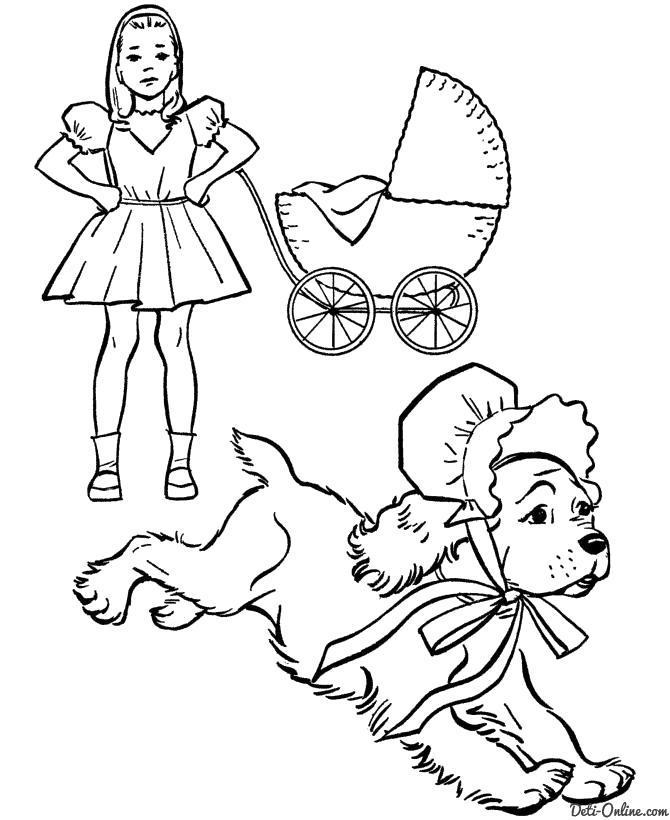 Раскраска  Собака в чепчике убегает от девочки. Скачать Собака.  Распечатать Собака