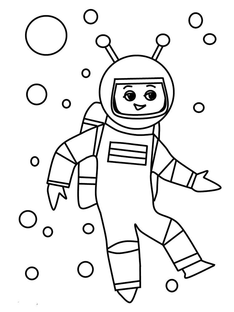 Раскраска Космонавт. Скачать день космонавтики.  Распечатать день космонавтики