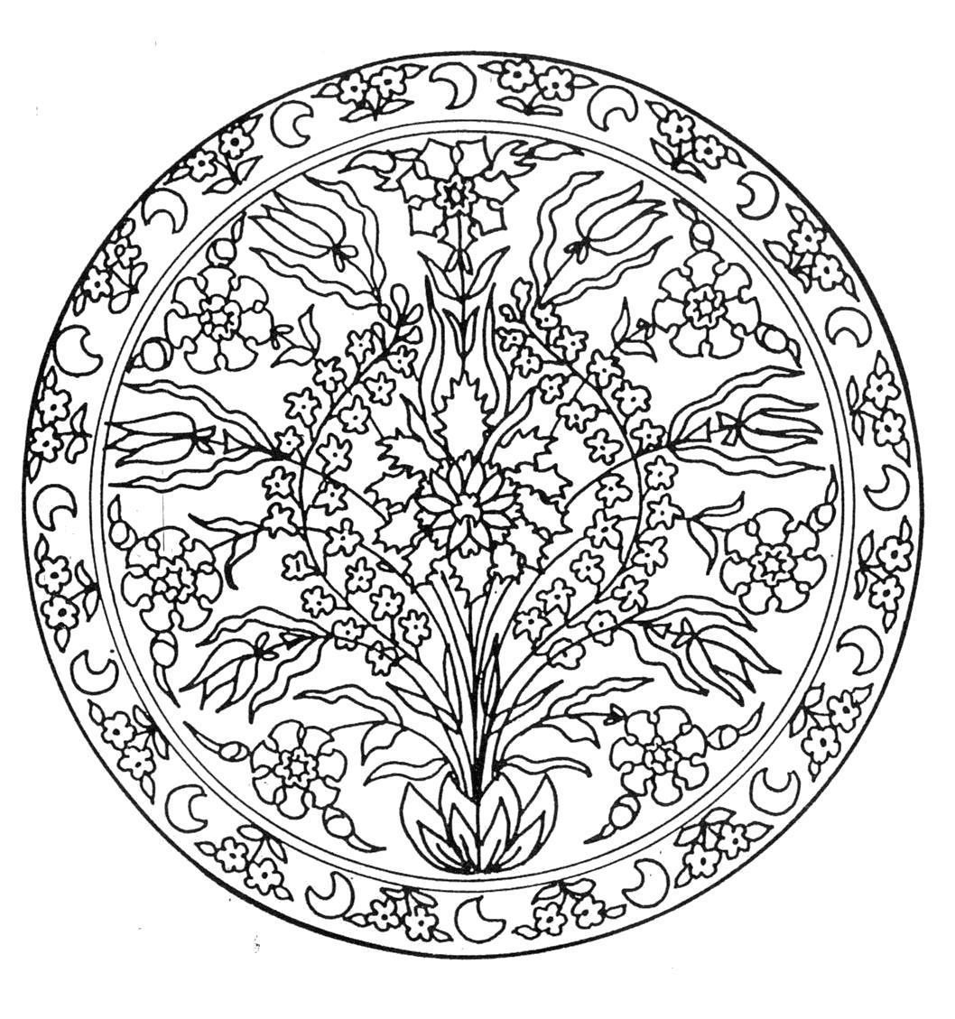 Название: Раскраска мандала цветы. Категория: Цветы. Теги: Цветы.