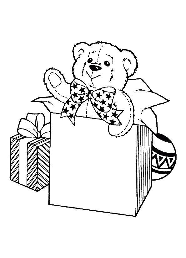 Раскраска мишка в подарок. Скачать Мишка.  Распечатать Мишка