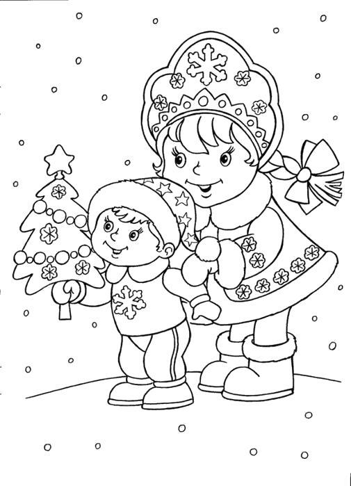 Раскраска  снегурочка и девочка радуются снегу. Скачать снег.  Распечатать снег