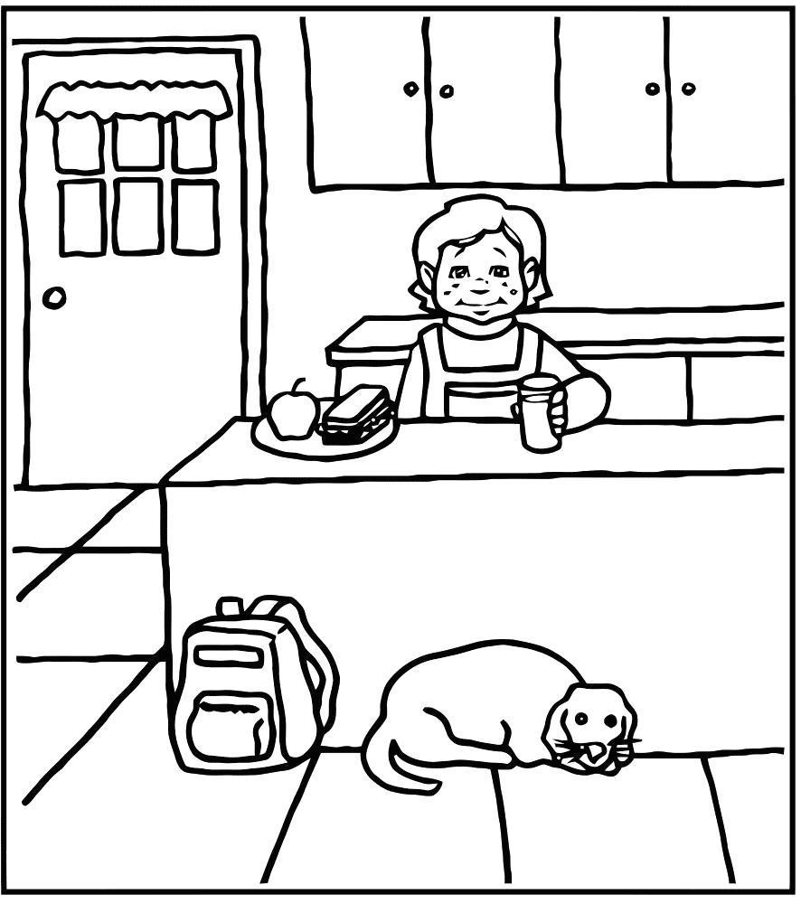 Раскраска Мальчик и собачка на кухне. Скачать .  Распечатать