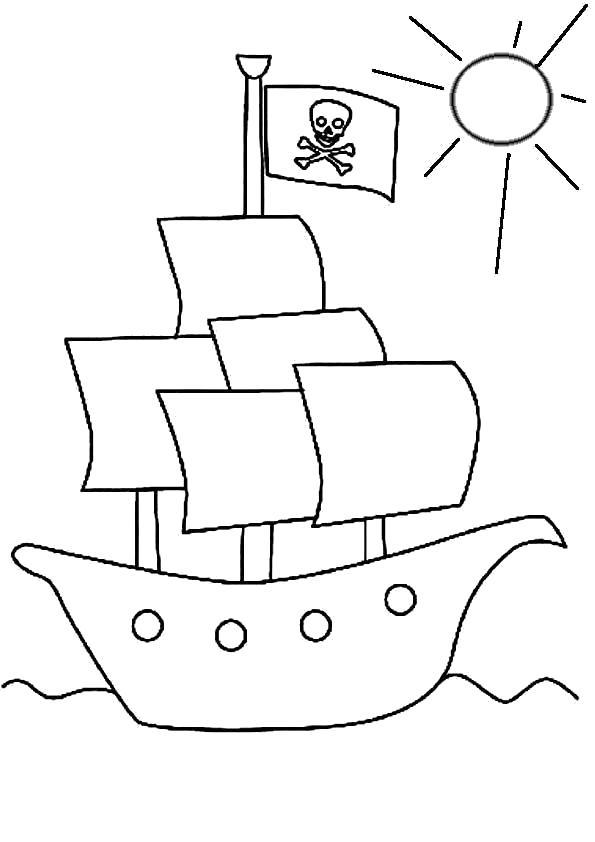 Раскраска Пиратские корабли. Скачать Пират.  Распечатать Пират