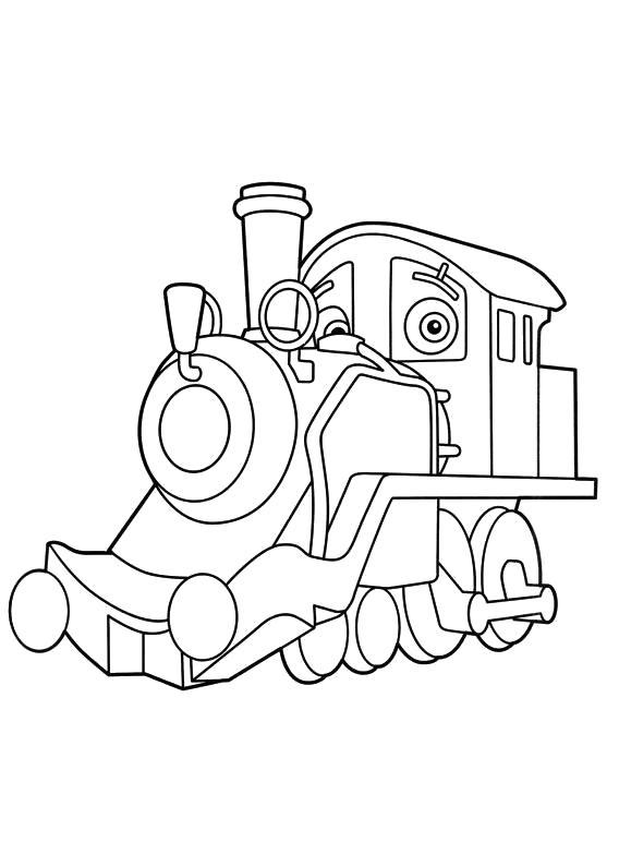 Раскраска  Чаггингтон, паровозик поломался. Скачать Чаггингтон.  Распечатать Чаггингтон