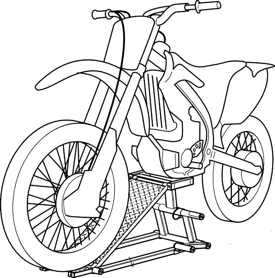 Раскраска Мотоцикл на стойке. Скачать Мотоцикл.  Распечатать Мотоцикл