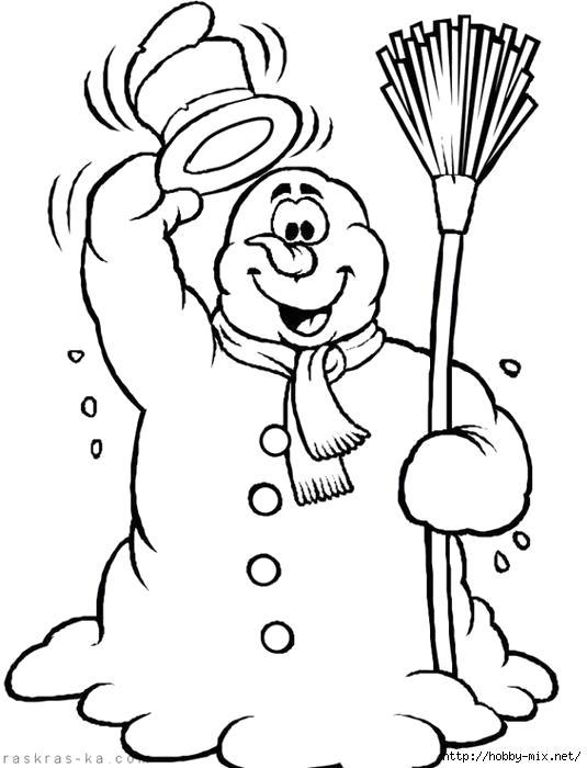 Раскраска Веселый снеговик. Скачать новогодние.  Распечатать новогодние