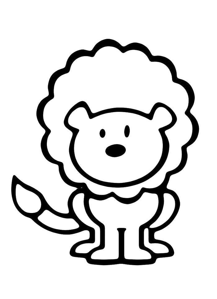 Раскраска  Смешной львенок. Скачать .  Распечатать