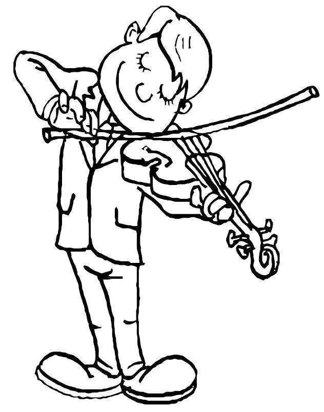 Раскраска Скрипач. Скачать Скрипка.  Распечатать Скрипка
