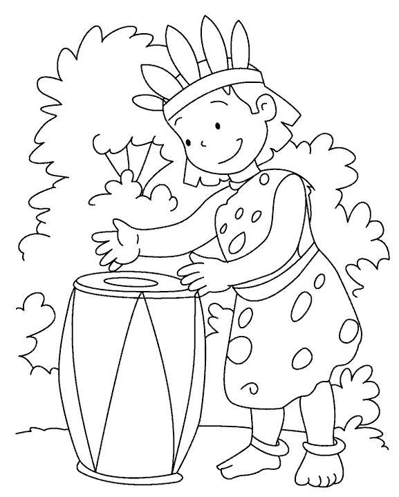 Раскраска африканец барабанит. Скачать Барабан.  Распечатать Барабан