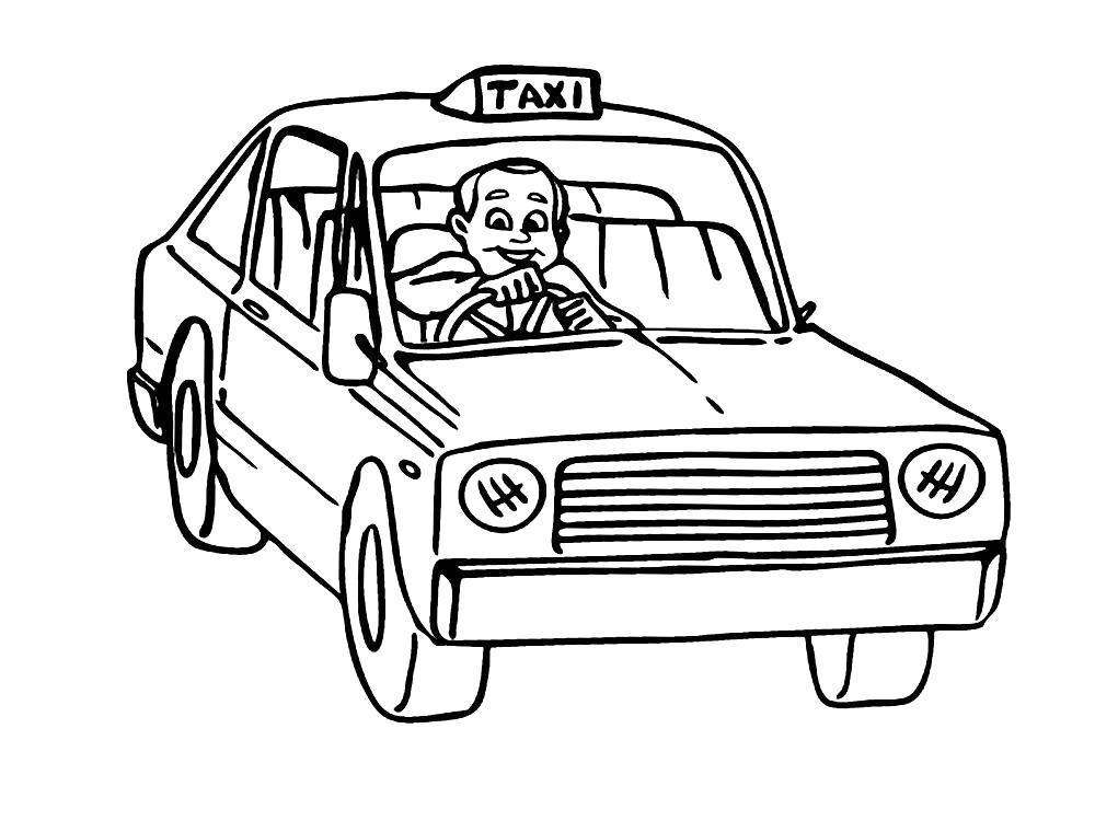 Раскраска водитель такси, такси, машина такси. Скачать Профессии.  Распечатать Профессии