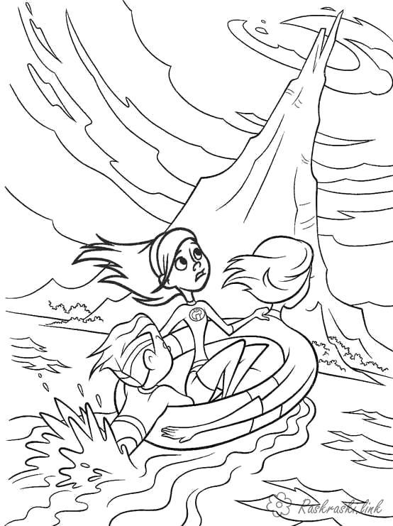 Раскраска  эластика спасает девочку. Скачать Суперсемейка.  Распечатать Суперсемейка