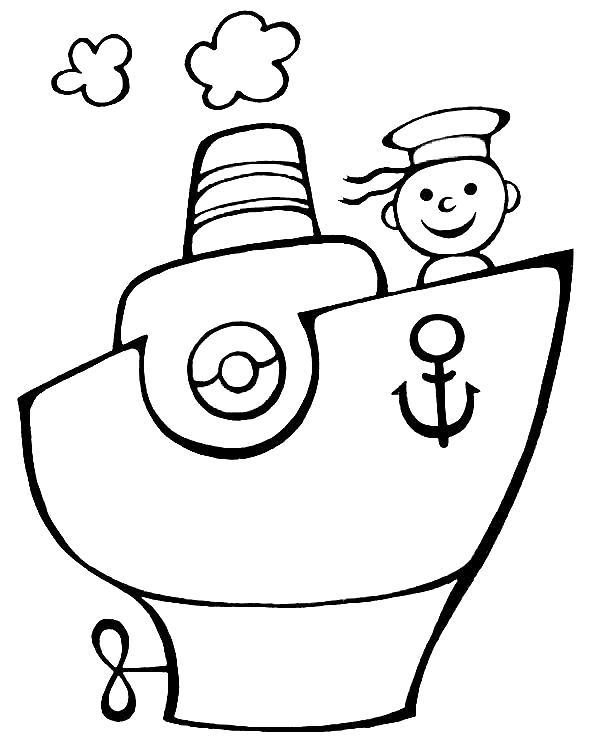 Раскраска матрос на корабле. Скачать Кораблик.  Распечатать Кораблик