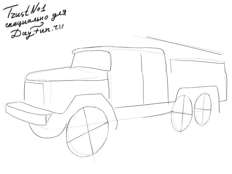 Раскраска Как нарисовать пожарную машину карандашом поэтапно. Скачать Как нарисовать.  Распечатать Как нарисовать
