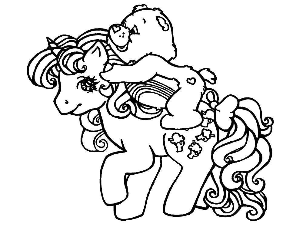 Раскраска Мишка Гамми на пони. Скачать .  Распечатать
