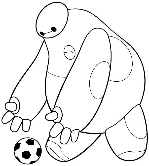 Раскраска  Бэймакс играет с мячом. Скачать Город героев.  Распечатать Город героев