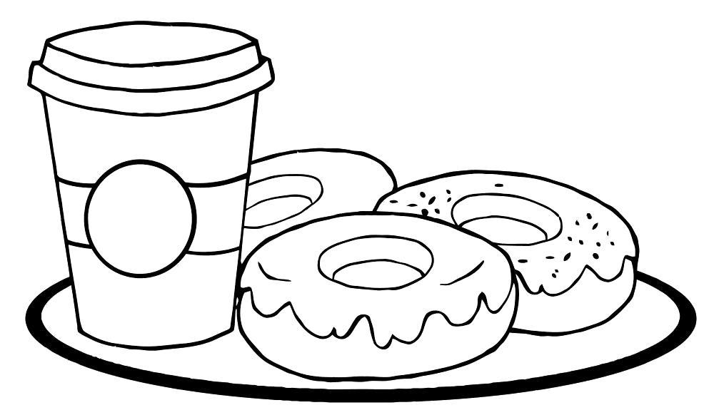 Раскраска  кофе (чашка), пончики. Скачать продукты.  Распечатать продукты