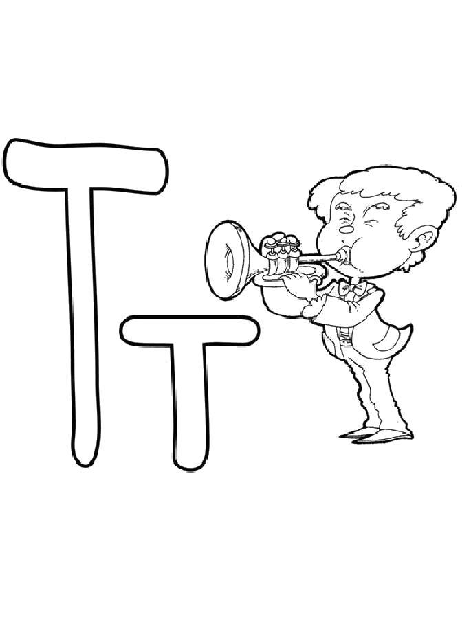 Раскраска  буква Т с трубачом. Скачать буквы.  Распечатать буквы