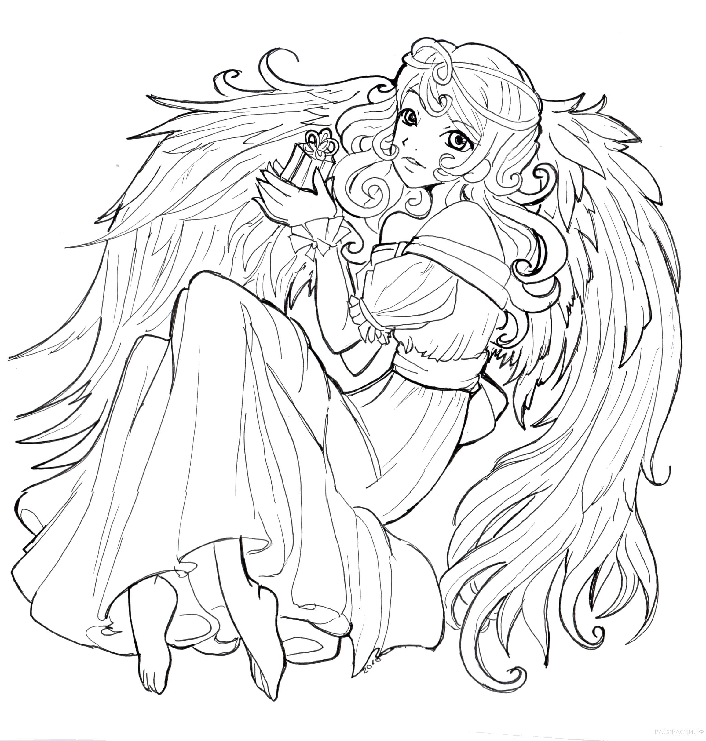 Раскраска  Аниме Ангел с крыльями. Скачать ангел.  Распечатать ангел