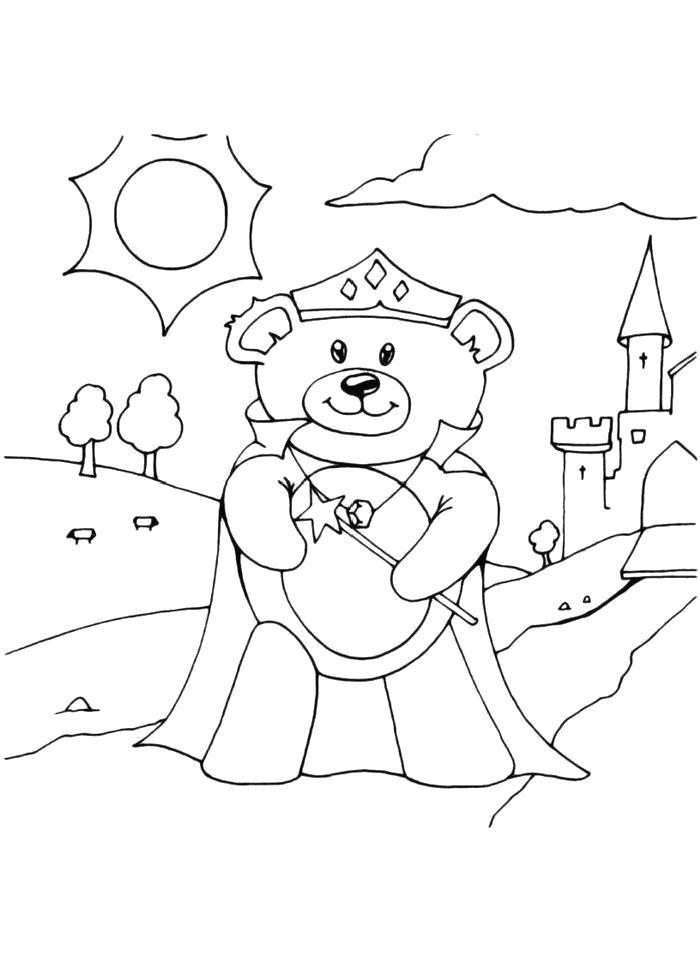 Раскраска  Мишка в городе. Скачать медведь.  Распечатать медведь