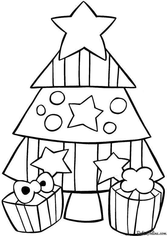 Раскраска  Маленькая елочка с двумя подарками. Скачать Елка.  Распечатать Елка