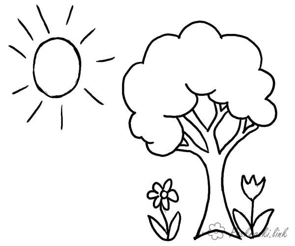 Раскраска  лето  лето деревце цветочки солнышко. Скачать Лето.  Распечатать Лето
