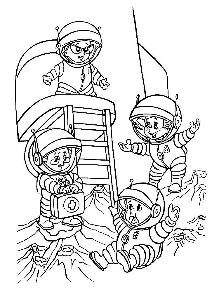 Раскраска Космонавты. Скачать день космонавтики.  Распечатать день космонавтики