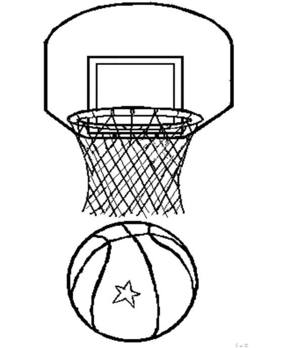 Раскраска  Баскетбольная корзина. Скачать Баскетбол.  Распечатать Баскетбол