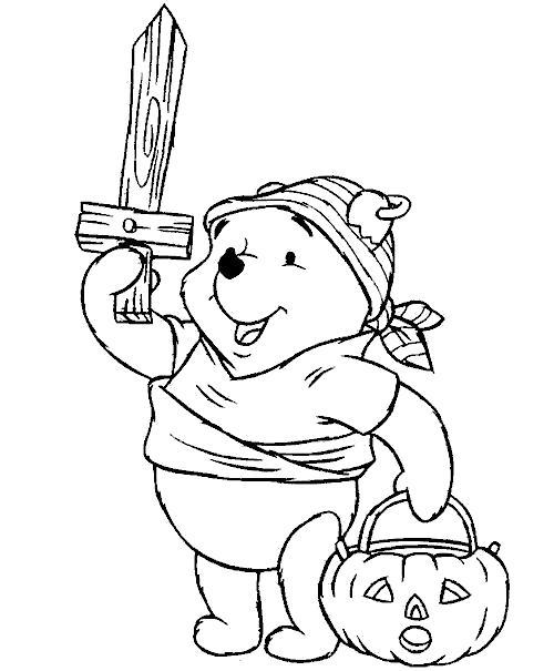 Раскраска Хэллоуин. Скачать Винни Пух.  Распечатать Винни Пух