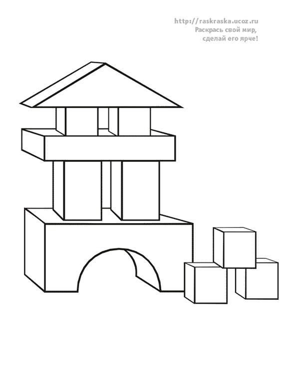 Раскраска домик из кубиков, . Скачать Дом.  Распечатать Дом