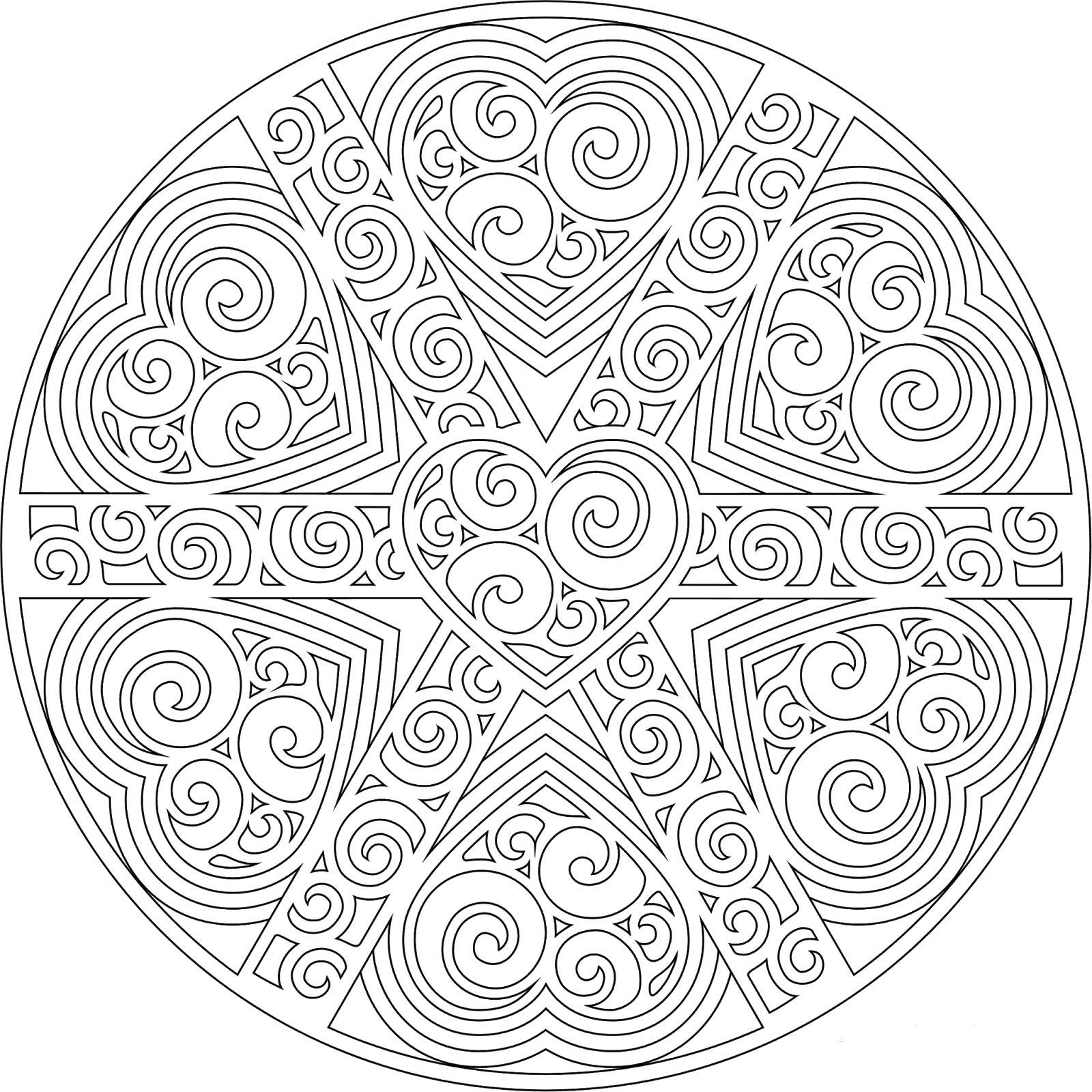 Раскраска Мандала узоры и сердца. Скачать узоры, цветы, круглые.  Распечатать антистресс